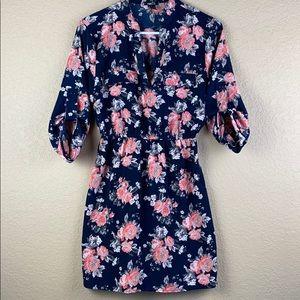 navy/peach floral roll tab dress • sz small